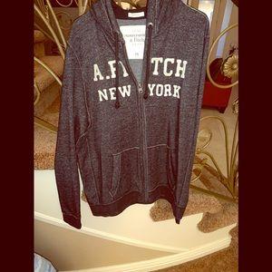 XXL charcoal gray  hoodie full zip Abercrombie